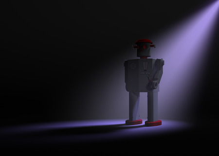 automaton: A 1950s style tin toy robot on a dark background is dramatically lit from behind by a pale purple spotlight.