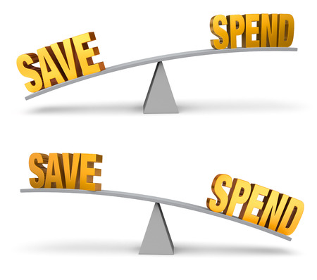 spend: Set of two images. In each, a gold \SAVE\ and \SPEND\ sit on opposite ends of a gray balance board.  In one image, \SAVE\ outweighs \SPEND\ in the other, \SPEND\ outweighs \SAVE\. Isolated on white.