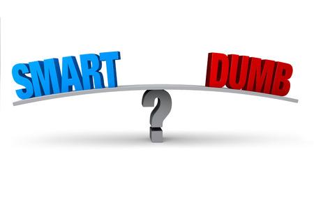 """파란색 """"스마트""""및 빨간색 """"덤 (DUMB)""""은 회색 물음표로 표시된 회색 보드의 반대쪽 끝에 위치합니다. 흰색으로 격리."""