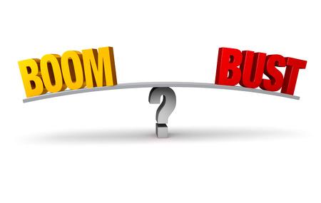 """밝은, 금색 \ """"BOOM \""""과 빨간색 \ """"BUST \""""은 균형 잡힌 회색 보드의 반대편 끝에 앉습니다. 회색 물음표에. 흰색으로 격리."""