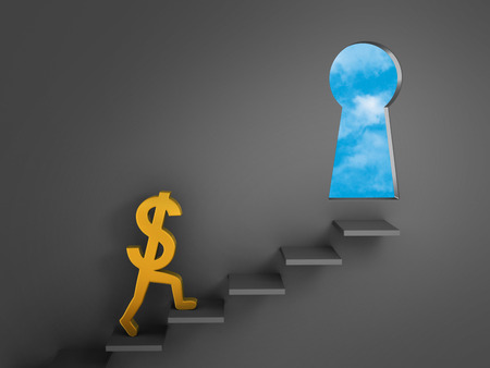 key to freedom: A gold dollar sign climbs stairs mounted on a dark gray wall towards a keyhole-shaped doorway opening to bright, blue skies. Stock Photo