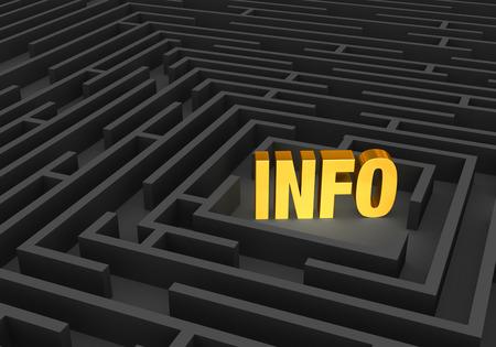 """밝고 금색의   """"정보     """"는 어두운 미로의 중심에 서 있습니다. 스톡 콘텐츠"""