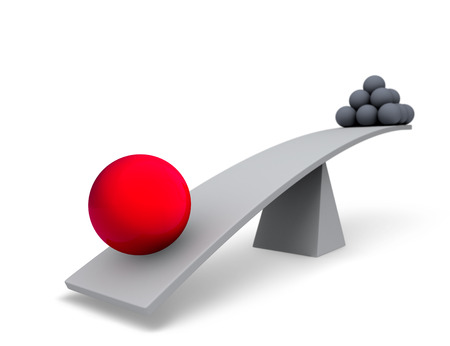One large, red sphere weighs one end of a gray balance beam down while a pyramid of small gray spheres sits high in the air on the other end. Focus is on the red sphere.  Isolated on white.