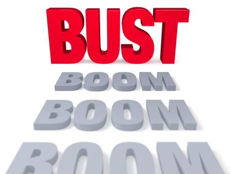 """회색의 """"BOOM""""행은 대담하고 밝은 빨간색의 """"BUST""""앞에 끝납니다. 초점은 """"BUST""""입니다. 흰색으로 격리."""