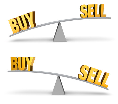 outweighs: Set of two images. In each, a gold BUY and SELL sit on opposite ends of a gray balance board.  In one image, BUY outweighs SELL in the other, SELL outweighs BUY. Isolated on white.