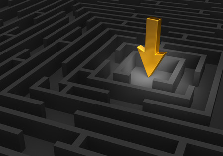 A spotlight reveals a large, gold arrow pointing at the center of a dark maze.