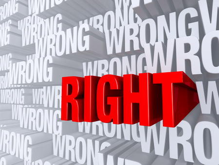 """밝은 빨강, """"RIGHT""""는 극적으로 다른 깊이에서 """"WRONG""""반복 횟수를 가득 밝은 회색 배경에서 앞으로 밀어. 스톡 콘텐츠"""