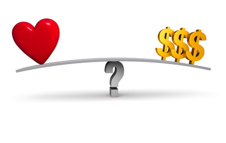 balance beam: A bright red heart and three gold dollar signs sit on opposite ends of a gray board balanced on a gray question mark. Isolated on white.