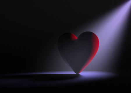 A large red heart on a dark background is dramatically lit from behind by a pale purple spotlight.