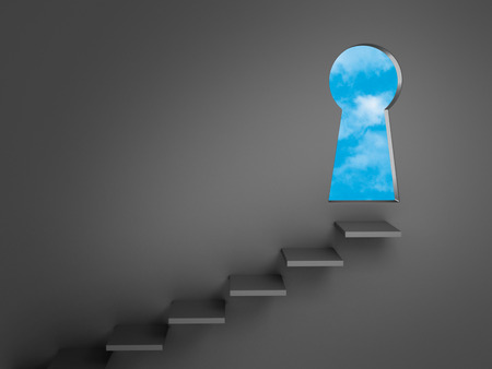 Stairs mounted on a dark gray wall lead to a keyhole-shaped doorway opening to bright, blue skies.