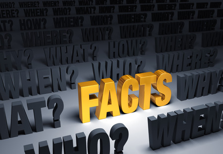 in fact: A bright, gold FACTS stands out in a dark background filled with WHO?, WHAT?, WHEN?, WHERE?, HOW? and WHY?