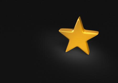 스포트 라이트는 어두운 배경에 단일 골드 스타를 밝게 비춰줍니다. 스톡 콘텐츠