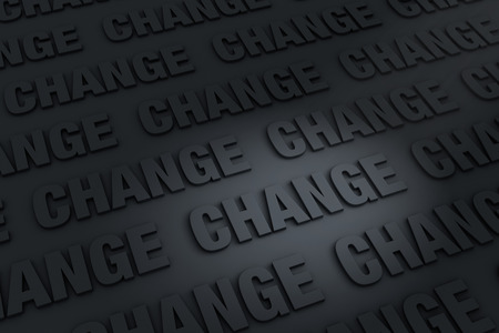 newness: A dark background filled with CHANGE receding into the distance.
