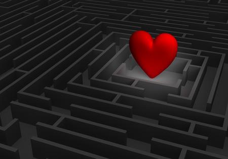 스포트라이트는 어두운 미로의 중심에 크고 붉은 심장을 드러냅니다.