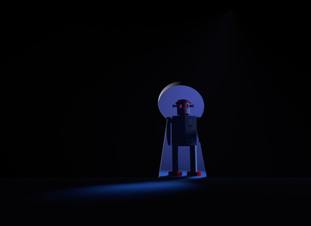 takeover: An ominous old style robot with glowing red eyes blocks a keyhole shaped opening leading from in a dark room to a lighted area.