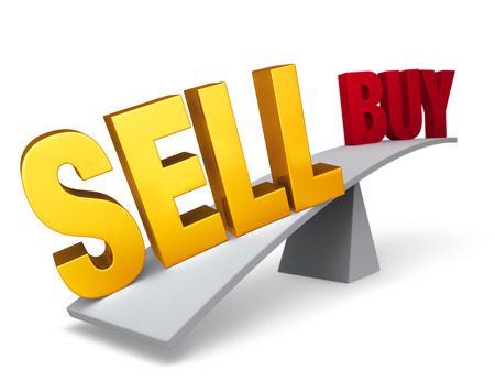 A bright, gold SELL weighs one end of a gray balance beam down while a red BUY sits high in the air on the other end. Focus is on SELL.  Isolated on white.