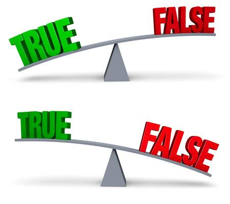 真の明るい、緑と赤の偽グレー バランス ボードの両端に座る。 1 つのイメージで TRUE が他の FALSE を上回る、FALSE が TRUE を上回る。白で隔離。 写真素材
