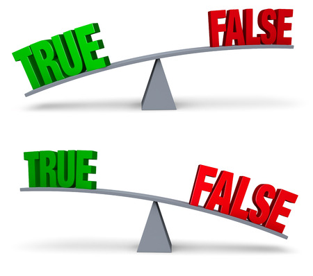 outweighs: Un brillante, verde TRUE y una sentada FALSO rojo en los extremos opuestos de una tabla de equilibrio gris. En una imagen, VERDADERO FALSO supera en la otra, FALSO supera TRUE. Aislado en blanco.
