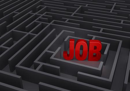"""굵게, 빨간색 """"JOB은""""회색 미로의 중심에 서있다."""