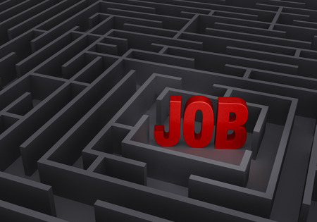 job hunting: A bold, red JOB stands in the center of a gray maze.
