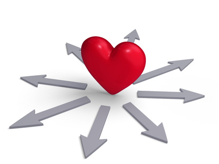 decide deciding: A bright, red heart stands in the center of a multitude of gray arrows radiating outward, representing a heart pulling in many directions at once.  Isolated on white. Stock Photo