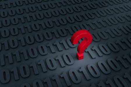 """빨간색 """"?"""" 이진 컴퓨터 코드가 거리로 멀어져 가득 어두운 배경에서 눈에 띈다 스톡 콘텐츠"""
