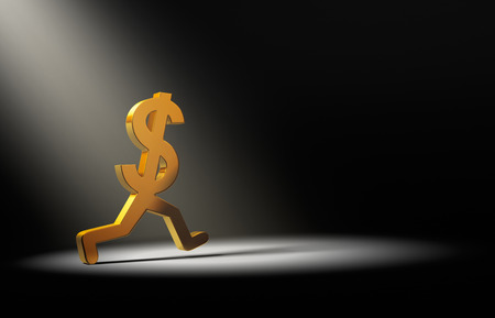 cashflow: A gold dollar sign is caught in the spot light as it runs away.
