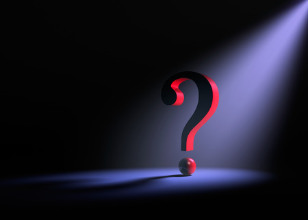 inquire: A large red question mark on a dark background is dramatically lit from behind by a  purple spotlight. Stock Photo