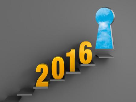 금 2016 오르막 계단은 기회의 밝은 푸른 하늘에 keyholeshaped 출입구 개방을 향해 어두운 회색 벽에 장착. 스톡 콘텐츠