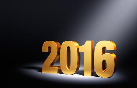 골드 2016 어두운 배경에, 오른쪽 상단에서 밝게 조명 각진 스포트 라이트. 스톡 콘텐츠