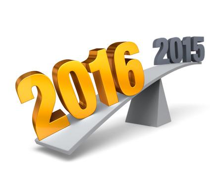 """밝고 금색 인 """"2016""""은 회색 균형 빔의 한쪽 끝을 내리고 회색 """"2015""""는 다른 쪽 끝을 공중에서 높이 내 보냅니다. 초점은 2016입니다. 화이트"""
