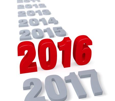"""밝은 회색의 긴 행에서, 크고 반짝이는 빨간 """"2016""""은 전경을 지배하면서 키가 stands니다. 초점은 2016입니다. 화이트에 격리."""