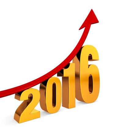 """금 번호 """"2016""""위에 극적으로 위쪽으로 향하는 붉은 화살표가 나타납니다. 흰색 그림자와 함께."""