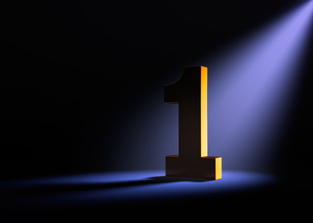 1: A gold number one on a black background is dramatically lit from behind and above by a pale purple spotlight.