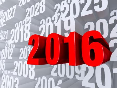 """대담하고 빨간 """"2016""""은 다른 해로 가득 찬 연한 회색 배경에서 극적으로 앞으로 나아 간다."""