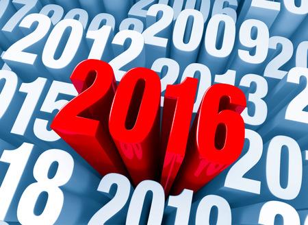 """빛나는 굵은 빨간색 """"2016""""은 다른 해를 지나면 밝은 파란색으로 나타납니다."""