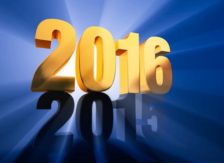 """반짝이는 백라이트의 금 """"2016""""은 진한 파란색 바탕에 어두운 회색 """"2015""""꼭대기에 앉아 있으며 두 해를 통해 빛나는 광선을 보냅니다."""