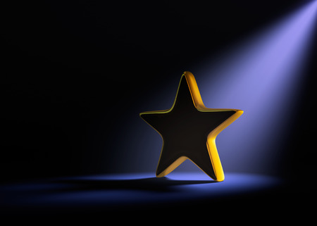 dramatically: A gold star on a dark background is dramatically lit from behind and above by a pale purple spotlight.