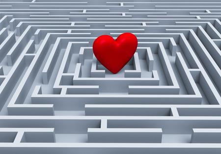 대담하고 붉은 심장은 하늘색 회색 미로의 중심에 서있다. 스톡 콘텐츠