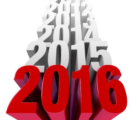 光沢のある太字の赤 2016年は、ライトグレーの上に積み上げで前の年を持つ前景を支配します。 白で隔離。