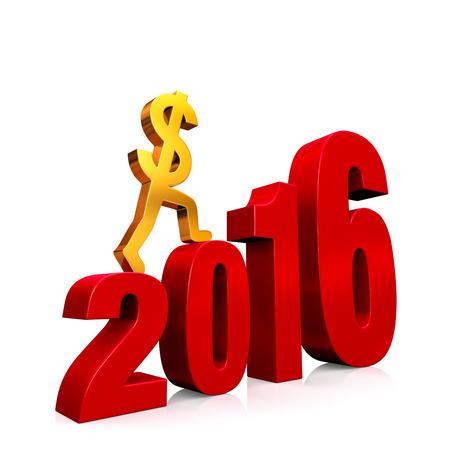 """""""2016""""년에서 형성하는 빨간색 단계를 등반하는 골드 달러 기호. 그림자있는 흰색."""