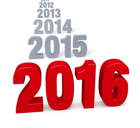 「2016」焦点は 2016 年、大規模な光沢のある赤にグレーの鉛の年の前。白で隔離。
