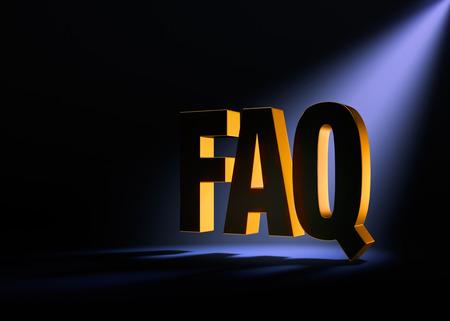 """검정색 바탕에 금색 """"FAQ""""가 옅은 자주색 스포트라이트로 뒤에서 극적으로 밝혀졌습니다."""