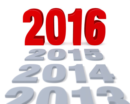 preceding: Preceding years in gray lead to a large, shiny red 2016  Focus is on 2016. Isolated on white.