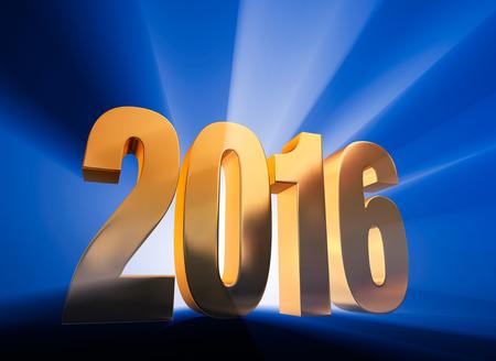 A 見事にバックライト付き、自信を持って、金 2016年が輝いている光線と深い青色の背景に際立っています。