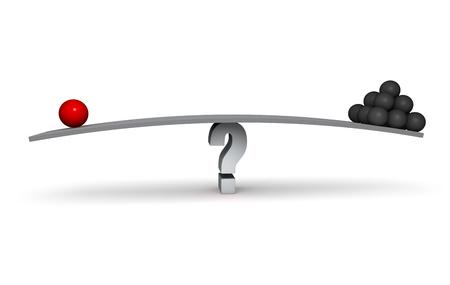 빨간색 영역 및 어두운 회색 분야의 스택은 회색 물음표에 균형 회색 보드의 양단에 앉아있다. 흰색입니다. 스톡 콘텐츠 - 45298942