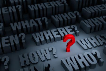 小さな赤い灰色WHOの暗い背景でスタンド「何」、「どこで」「いつ」、どのように、と「なぜ」それのまわりを上昇。 焦点は赤い疑問符です。