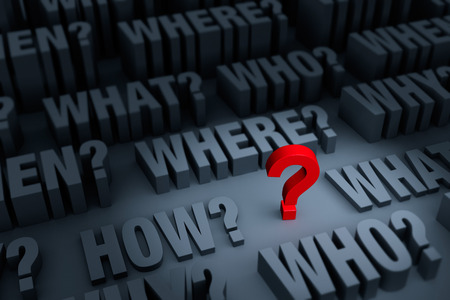 A small red  stands out in a dark background of gray WHO, WHAT, WHERE, WHEN, HOW, and WHY rising up around it.  Focus is on the red question mark.