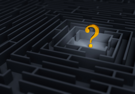 unknowing: A bright gold question symbol stands at the center of a dark maze.  Shallow DOF with focus is on the gold question mark. Stock Photo