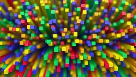 Illustrated image of colorful cubes stretching up towards the camera.  Shallow depth of field with only the closest elements in focus. 写真素材